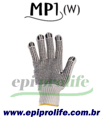 Luva tricotada em algodão e poliéster cor branca, com pigmentos em PVC na palma e face palmar dos dedos, punho com elástico